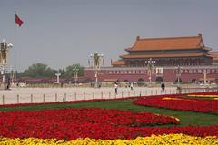 Flower beds seen at Tian'anmen Square to celebrate Int'l Labor Day